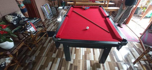 Mesa Tentação 4 Pés Laterais Cor Preto Tecido Vermelho Mod. NTCB1116 - Foto 3