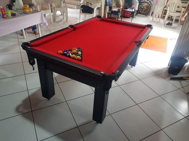 Mesa de Sinuca 1,93 x 1,18 Tabaco Campo de jogo em Mdf Tecido Vermelho - Foto 4
