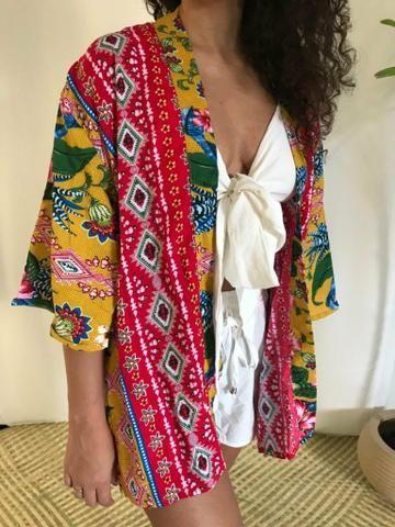 Kimono sobreposição verão moda feminina - Foto 4