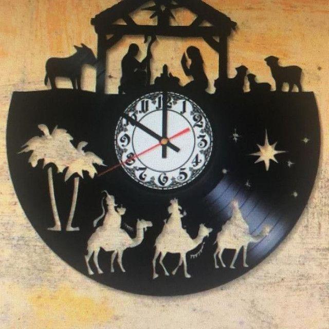 Presente maravilhoso de natal relógio vinil - Foto 2