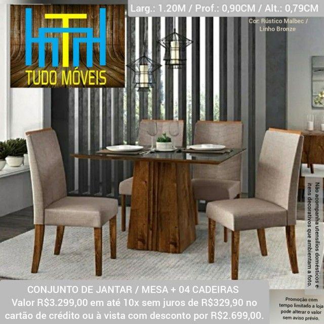 Conjunto Mesa Com Tampo De Vidro 04 Cadeiras  - Foto 2