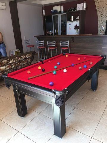 Mesa de Sinuca Tabaco Campo de jogo em Mdf Tecido Vermelho Medida 1,93 x 1,18 - Foto 4