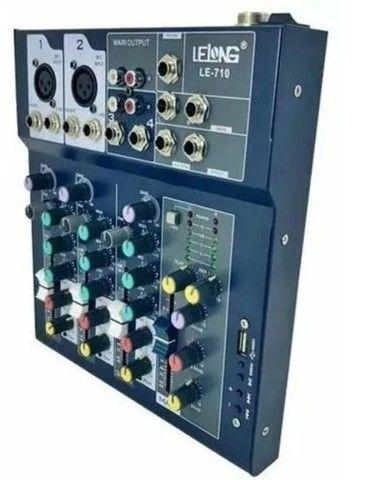 Mesa de Som Controladora Bluetooth Usb 4 Canais Le-710 - Foto 5