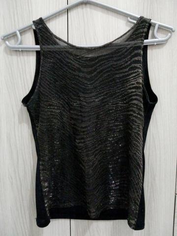 Blusa preta brilhante (transparente)