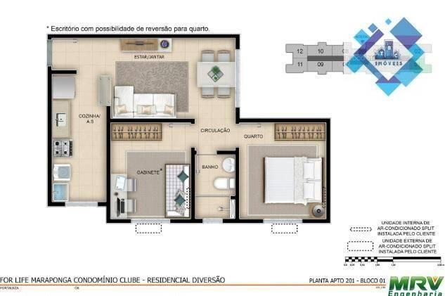 Apartamento / 2 Quartos - Área total: 44,90 /Maraponga. - Foto 10