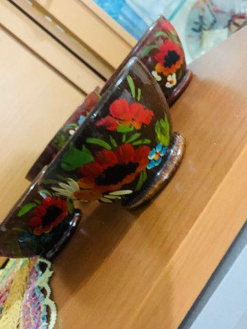 Conj de fundy barro pintado à mão  - Foto 3