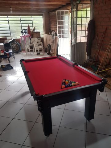 Mesa de Sinuca 1,93 x 1,18 Tabaco Campo de jogo em Mdf Tecido Vermelho - Foto 2