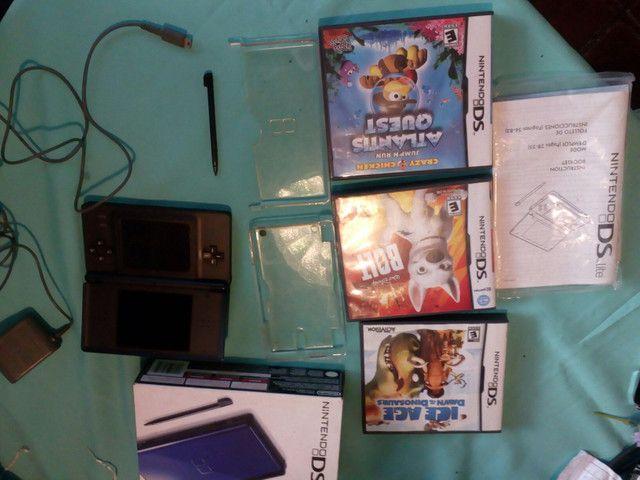 Nintendo DS Lite Azul + 3 Jogos + Fonte - Foto 6