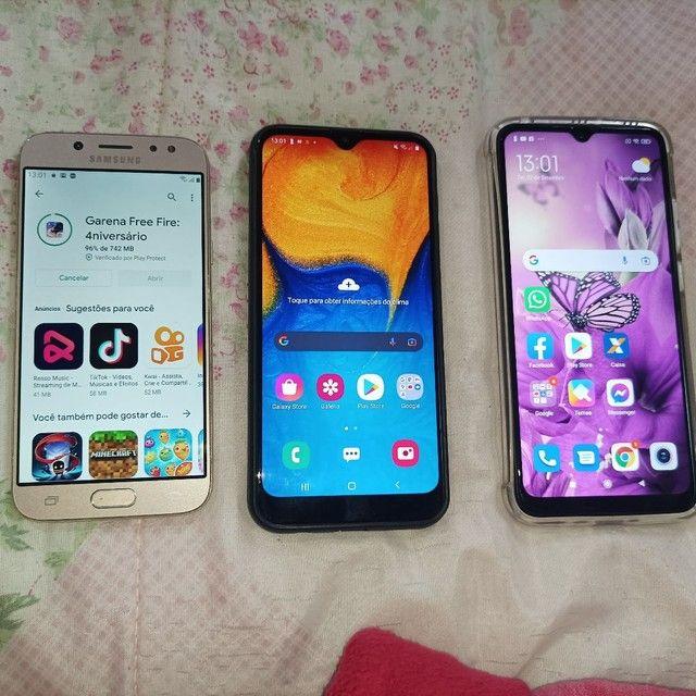 Samsung j5pro, A20 e Xiaomi redmi9A tudo funcionando e intacto apenas marcas de uso