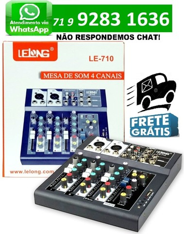Mesa de Som Controladora Bluetooth Usb 4 Canais Le-710