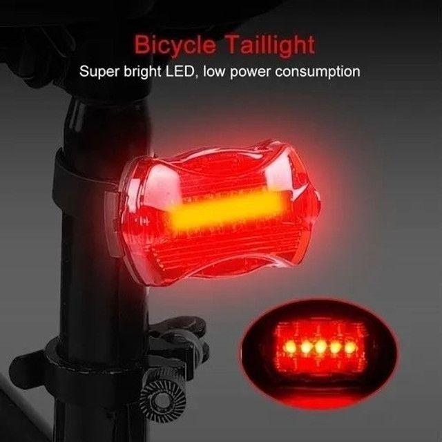 R$14,90 - Sinalizador Lanterna Traseira Bike Bicicleta Pilha 5 Leds - Foto 2