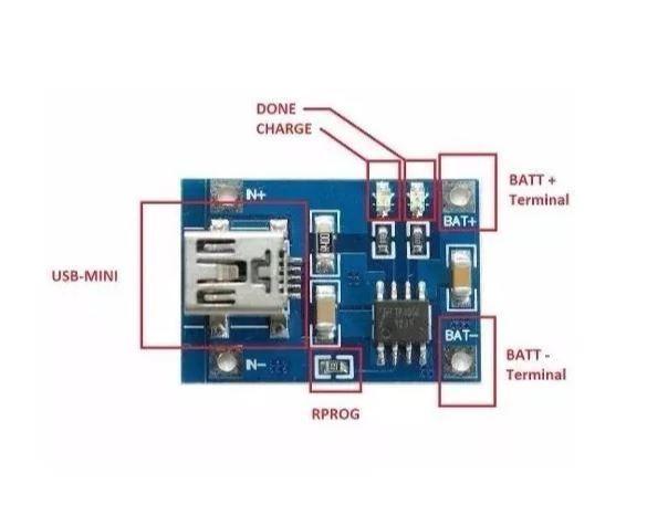 COD-AM1 Tp4056 Micro Usb Carregador Bateria Litio 1a 5v Lithium