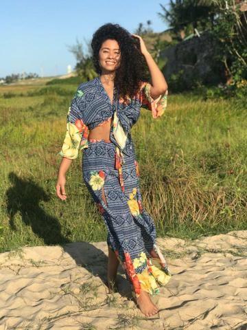 Kimono sobreposição verão moda feminina