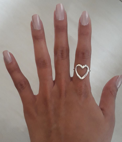 Anel coração grande em prata  - Foto 2