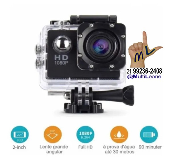 Camera Sports Hd Dv 1080p Filmadora Portátil À Prova D'agua Full Hd Dv 30m - Foto 3