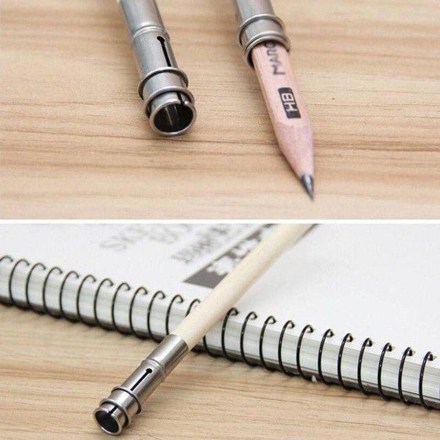 Extensor para lápis - cabo de madeira sem pintura, com suporte e trava em metal