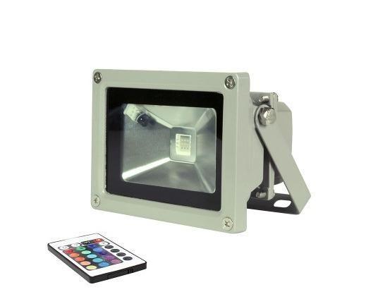 Refletor led 10w holofote bivolt RGB ip65 memória no controle