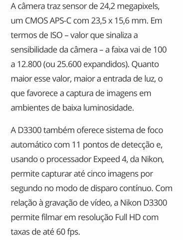 Câmera Nikon D3300 + Lente + Acessórios, troco por iphone 8 - Foto 5