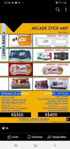 Raspberry pi 3, arcade stick , fliperama ,vídeo game retro 9 mil jogos, bartop - Foto 6