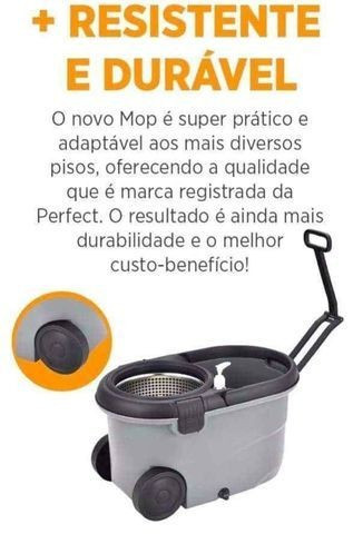 Mop Top Premium Balde 16L Centrifuga Inox Cabo 1,60m reforçado 3 tipos de refis - Foto 6