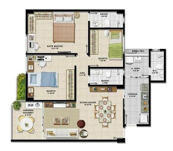 Apartamento 3/4 na Mansão de Fiori - Foto 14