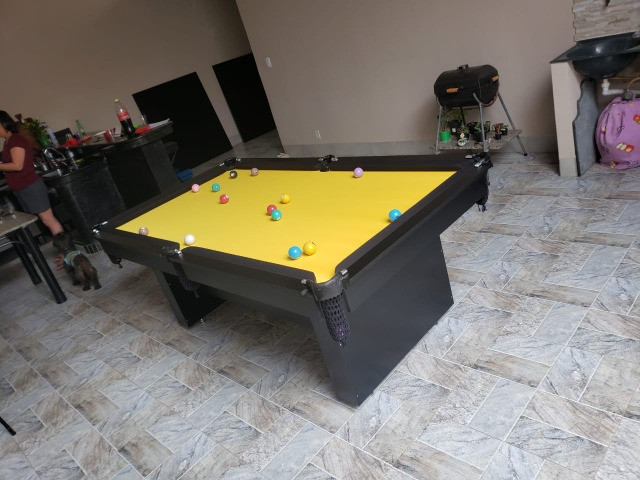 Mesa Encanto de Bilhar Cor Preta Tecido Amarelo Mod. RGGB7159 - Foto 3