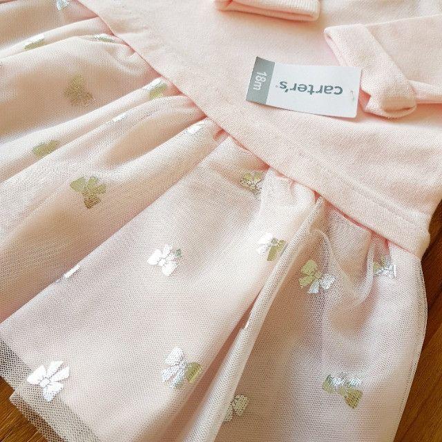 Vestido Carter's rosa claro _manga comprida - Foto 2