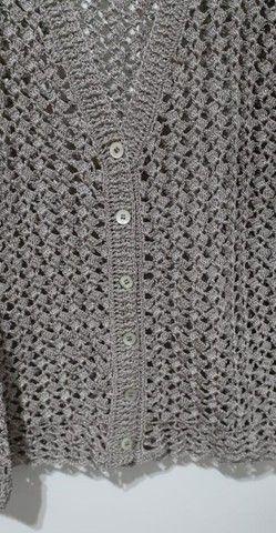 Blusa Feminina Elegante em Crochê Tamanho G - Modelo: Decote V - Foto 4