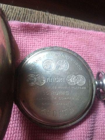Relógio  bolso de Prata Zenith Grande Prix Paris 1900 - 3 tampas 15 rubis  - Foto 2