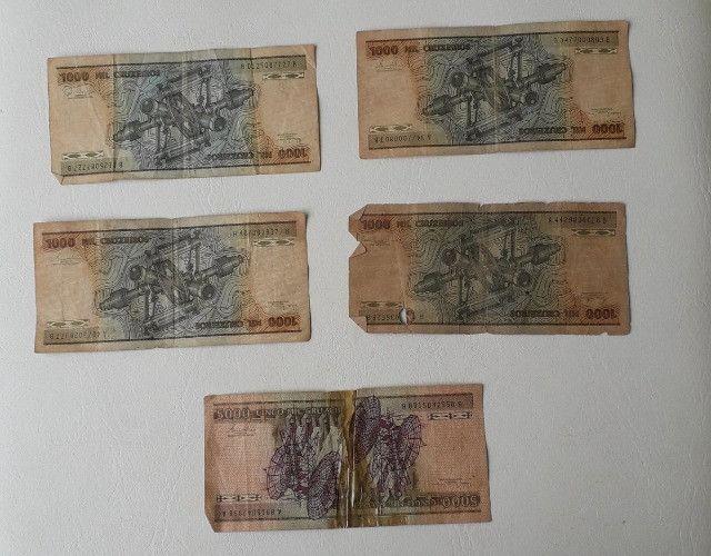 5 notas de 1000 e 5000 cruzeiros antigas - Foto 2