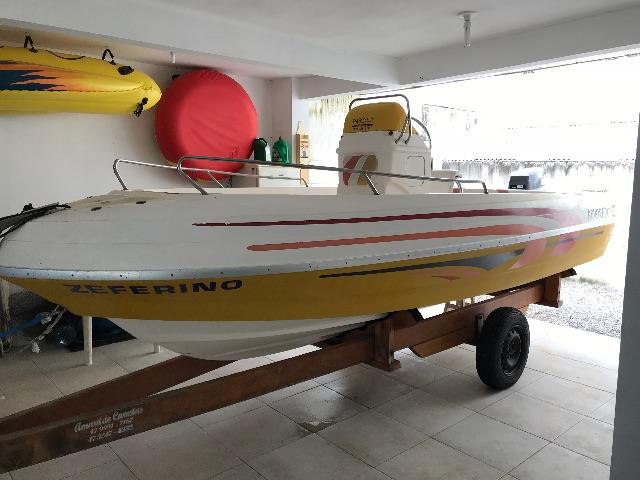 Lancha Fishing Yamaha 60HP 2004 16 pés Fly Fish CockPit Volante Central Barco Pesca