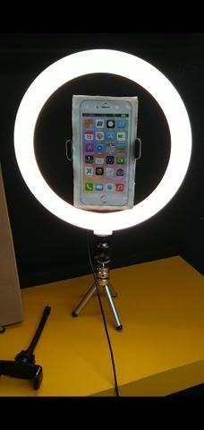 Ring light círculo de luz led com regulador branco Frio, quente e os dois 26cm de diâmetro