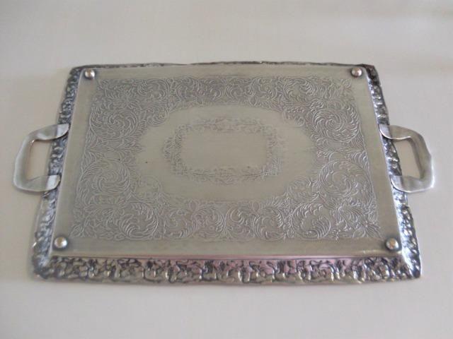 Bandeja prata 90 cinzelada trabalhada antiga - antique - leia - Foto 2