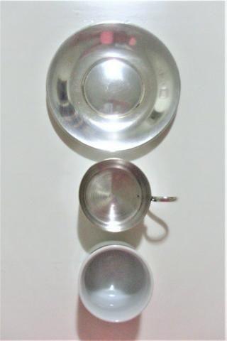 Par de xícaras de porcelana e banho de prata antigas- antique - leia - Foto 3