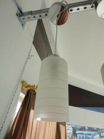 Pendente Redondo Vidro Branco 20cm/Bivolt - Foto 4