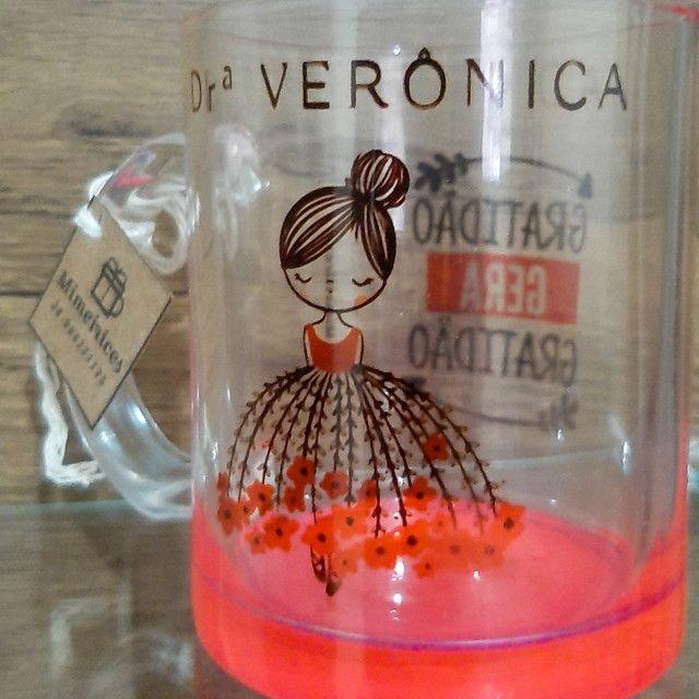 Caneca de Vidro Cristal Rosa Personalisada