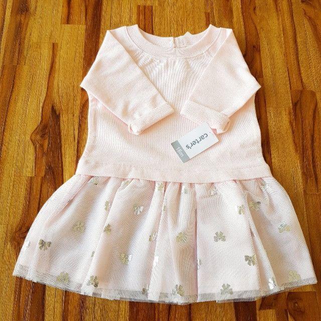 Vestido Carter's rosa claro _manga comprida