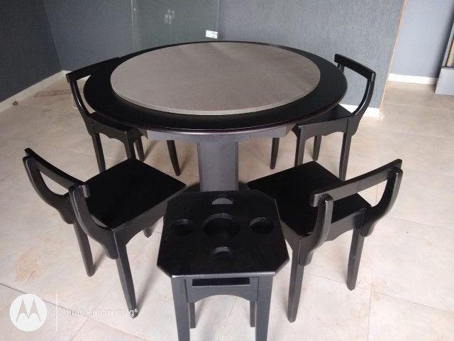 Mesa Carteado Cor Preta Tecido Cinza Mod. GGWP0991