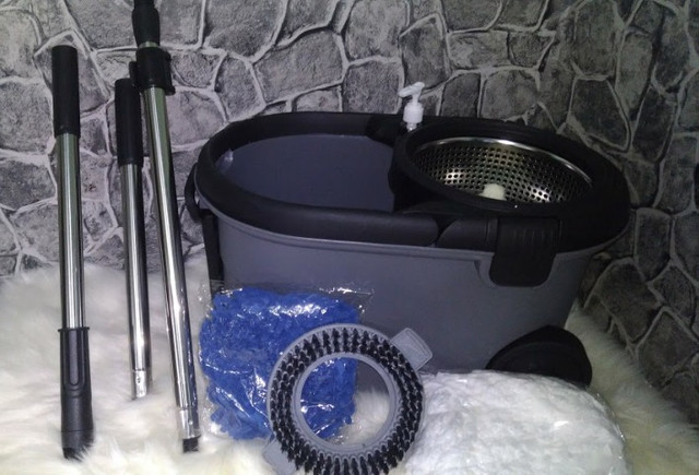 Mop Top Premium Balde 16L Centrifuga Inox Cabo 1,60m reforçado 3 tipos de refis - Foto 2