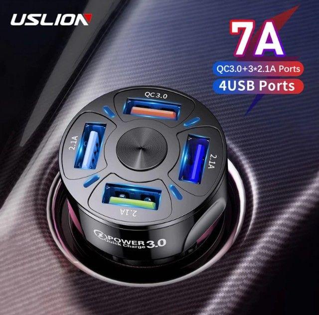 Carregador veicular Turbo Uslion QC 3.0, com 4 portas usb, 48w: Super carregamento