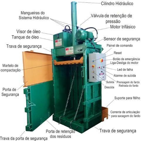 Prensa Enfardadeira Hidráulica Vertical - Produtos para Reciclagem em Geral - Foto 2