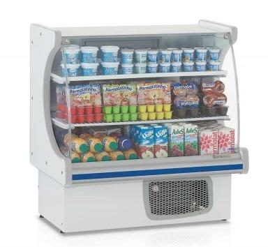 Balcão refrigerado para bebidas e laticínios