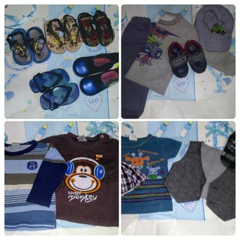 Roupinhas e sandálias e tênis de menino de 4 a 6 meses verão - Foto 4