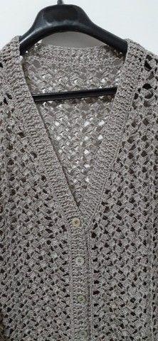Blusa Feminina Elegante em Crochê Tamanho G - Modelo: Decote V - Foto 5