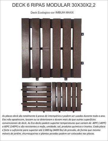 Deck piso modular 6 ripas cor imbuia - Foto 2