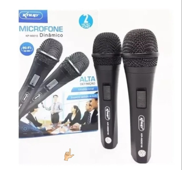 Microfone 2 unidades Com Fio Profissional Modelo KP-M0015 - Knup - Foto 4