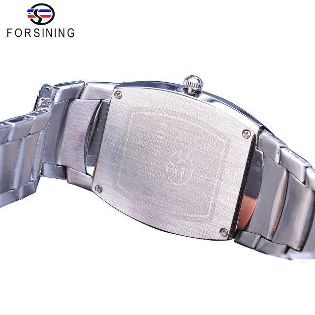 Relogio Forsining design cabeça de crânio casual data função banda de aço inoxidável - Foto 4