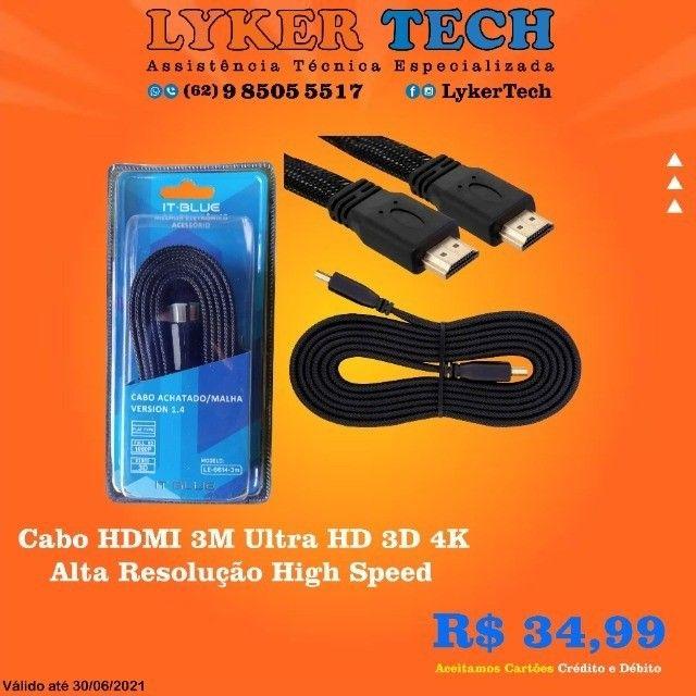 Cabo HDMI 3M Ultra HD 3D 4K Alta Resolução High Speed