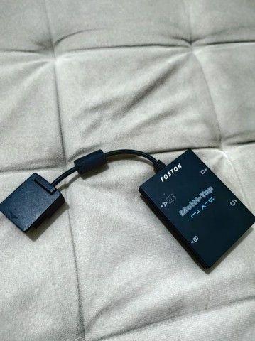Adaptador de controle PlayStation 2 com entrada 4 memory card e 4 controles