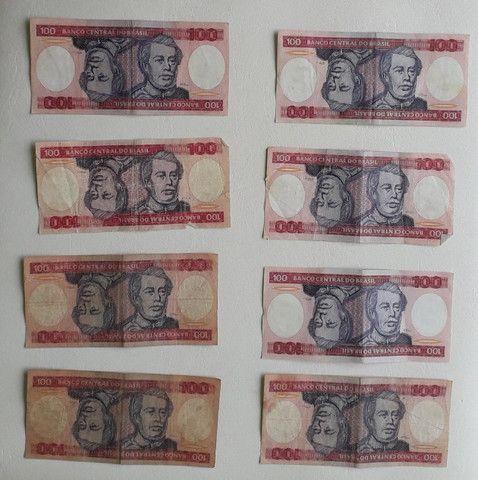 16 notas de 100 cruzeiros antigas